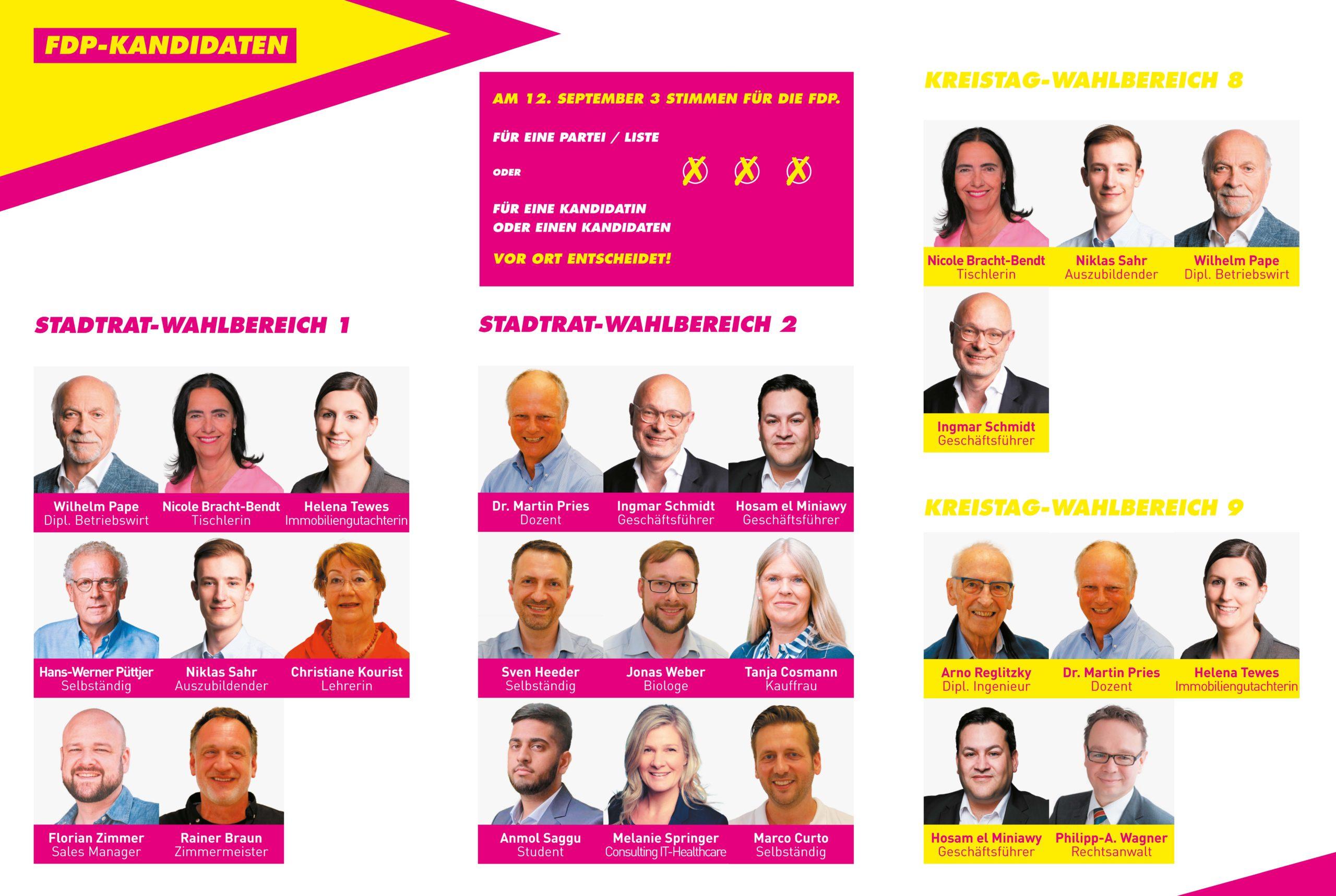 Kandidatinnen und Kandidaten der FDP Buichholz für die Stadtratswahl und die Kreistagswahl 2021